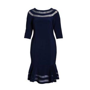 Xscape Flounce Midi Dress Navy Plus Size